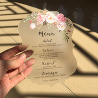 Customized Sample Set Rustic Water Color Style 5x7inch Frosted Acrylic Wedding Invitation Cards