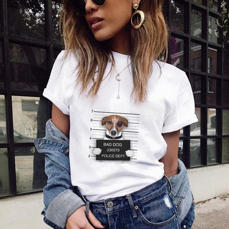 T     Shirts   Women 2018 Summer Dog Listening To Music Printing   T     Shirt   Harajuku Kawaii Plus Size Streetwear Camisa Feminina