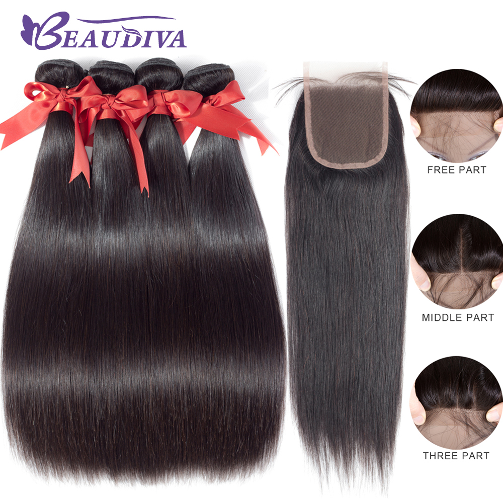 Beaudiva Hair Extensions Brazilian Straight Hair With Closure Human Hair Bundles With Closure Non Remy 3