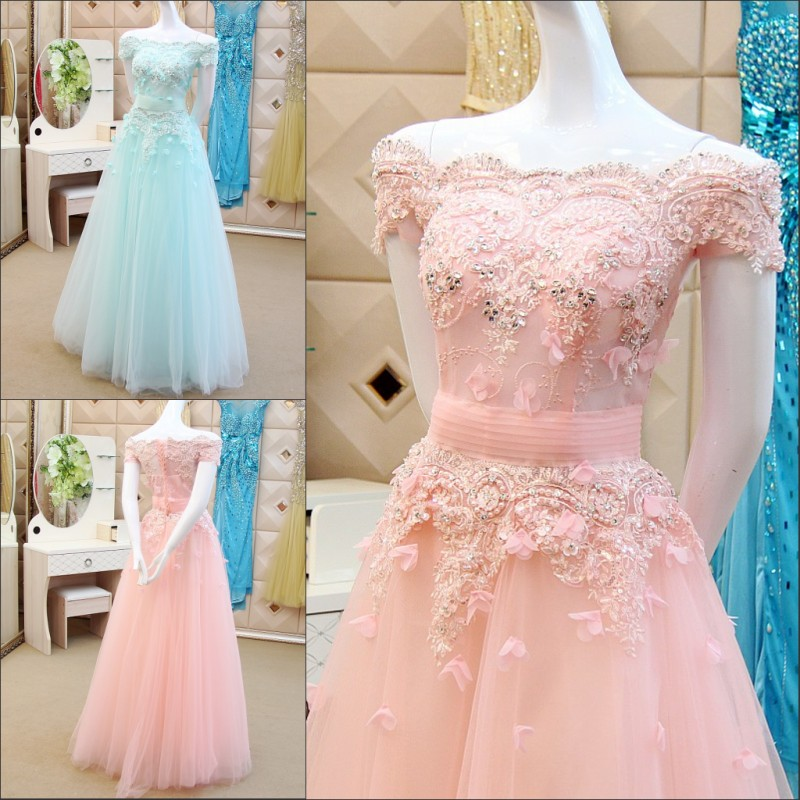 Vestido De Debutante Prom Party Gown Lace Appliques Beading Red Sky Blue Pink Quinceanera Gown 2018 Mother Of The Bride Dresses