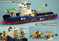 New Transformable Technic Searching Ship fit legoings technic ship boat Helicopter city plane Building Block Bricks Toys