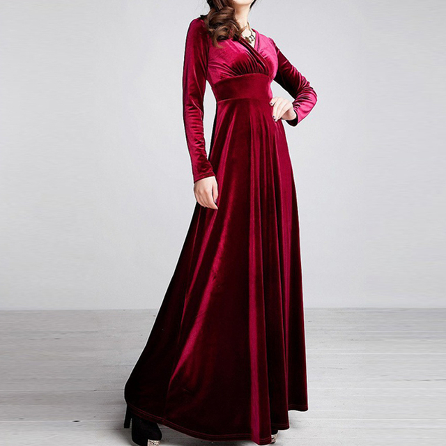 ALABIFU Autumn Winter Dress Women 2019 Casual Vintage Ball Gown Velvet Dress Plus Size 3XL Sexy Long Party Dress Vestidos 2