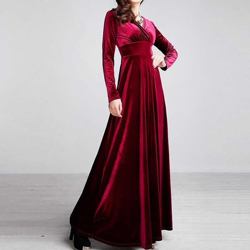 b0bb8ec480a1 ... ALABIFU Autumn Winter Dress Women 2019 Casual Vintage Ball Gown Velvet  Dress Plus Size 3XL Sexy ...