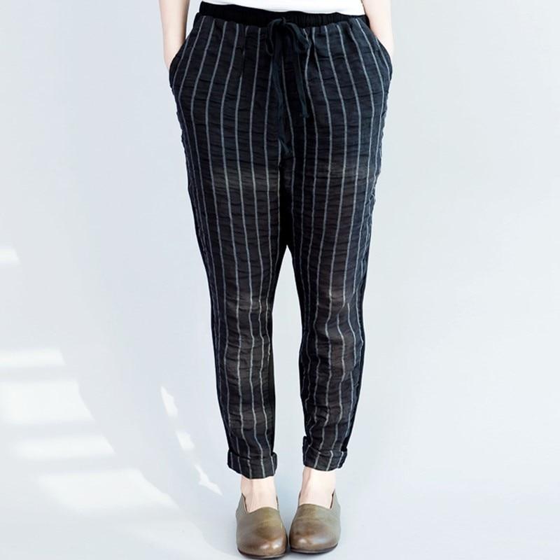 Spring Women Harem   Pants   Plus Size Loose striped Trousers for Female Cotton   Pants     Capris   Pleated   Pant   for Woman Drawstring   Pants