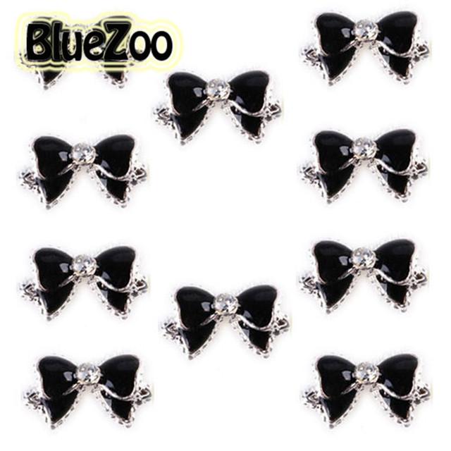 BlueZoo 100 unidades/pacote Preto 3d Liga Bow Tie Pedrinhas Nail Art Decoração Glitters Fatias Dicas DIY Prego Parafuso Prisioneiro Frete Grátis