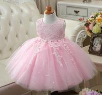 Sequin Baby Girl Clothes Weddings Pageant White Red Pink First Holy Lace Embroidery Communion Dress Children