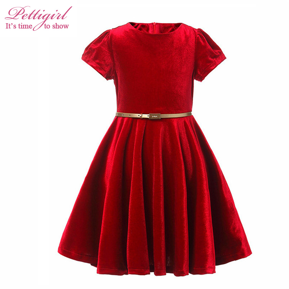 Pettigirl Red Girl Velvet Solid Dress With Gold Sash Short