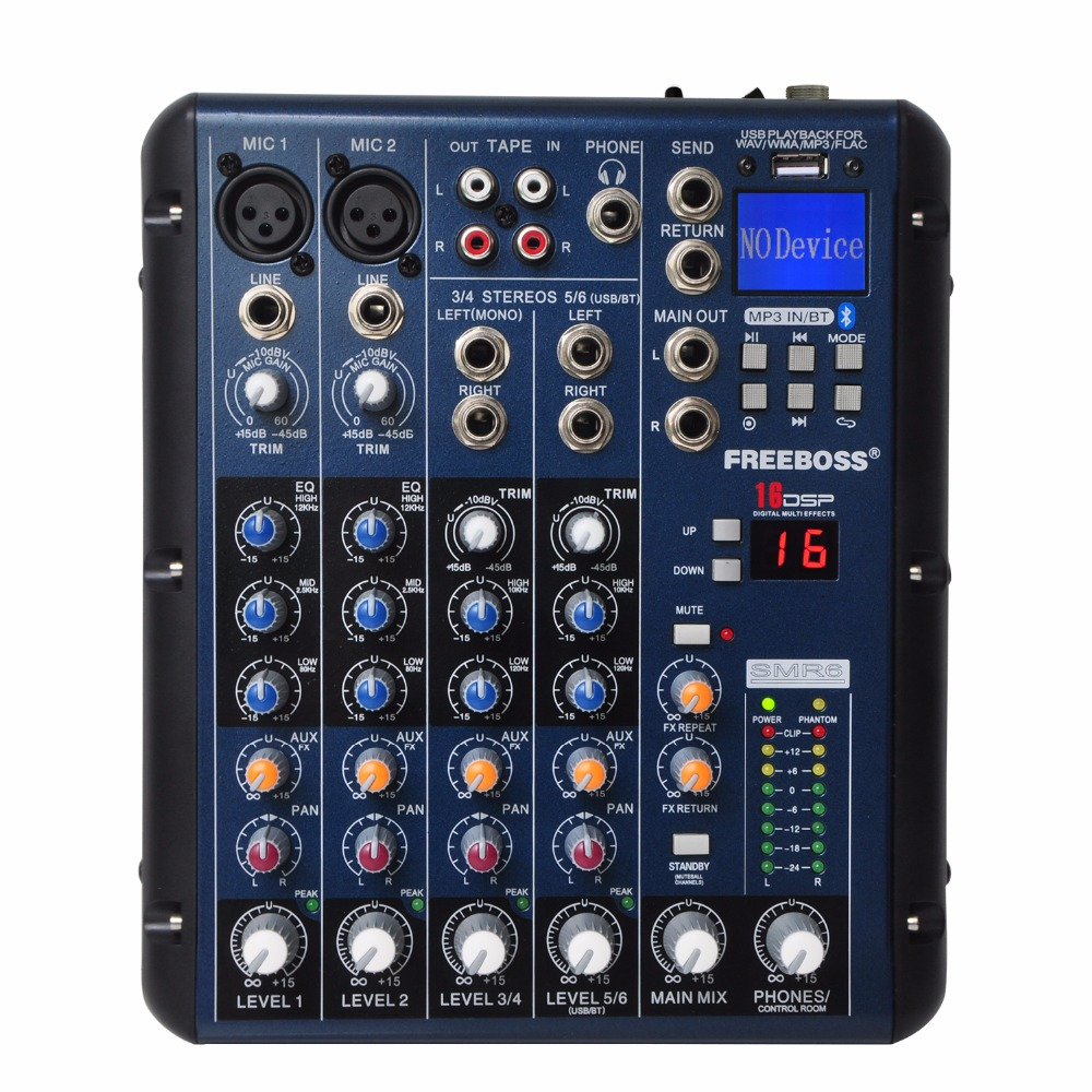 Freeboss SMR6 Bluetooth USB-optagelse 2 Mono + 2 stereo 6 kanaler 3 Band EQ 16 DSP Effect USB Professional Audio Mixer