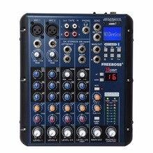 Freeboss SMR6 Bluetooth USB di Registrazione 2 Mono + 2 stereo 6 Canali 3 Band EQ 16 Effetti DSP USB Professionale mixer Audio