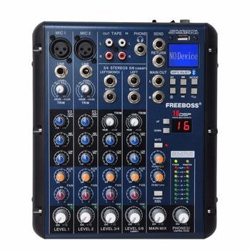 Freeboss SMR6 bluetooth usb Record 2 Mono + 2 stereo 6 kanałów 3 zespół EQ 16 efekt DSP USB profesjonalny sprzęt audio mikser tanie i dobre opinie SMR6-BT Miksery Pakiet 1 6 Channel ( 2 Mono +2 Stereo ) 48V DC Bluetooth Play USB Playback USB record 16 DSP MP3 WMA WAV FLAC