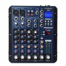 Freeboss mezclador de Audio profesional SMR6 con Bluetooth, USB Record 2 Mono + 2 estéreo, 6 canales, 3 bandas, efecto EQ 16 DSP, USB