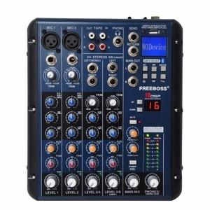 Image 1 - Freeboss smr6 bluetooth usb registro 2 mono + 2 estéreo 6 canais 3 banda eq 16 dsp efeito usb misturador de áudio profissional