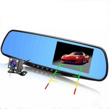 Hot 4.3 inch Full HD 1080P Car Mirror DVR Dual Lens Front And Back Camera For Car Rear View Mirror Car Camera DVR Video Recorder цена в Москве и Питере