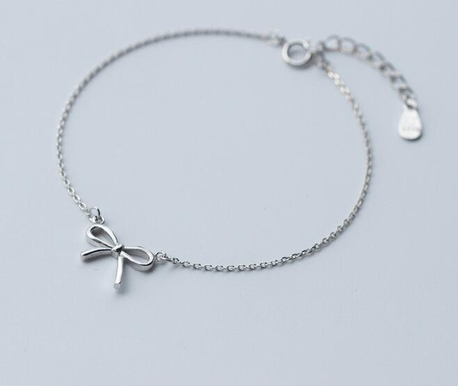 17b00fb01f78 1 unid 925-Sterling-plata Bowknot pulsera de cadena señora ajustable de la  plata esterlina LS218