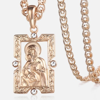 Trendsmax Blessed Virgin Mary Pendant Necklace For Women Men 585 Rose Gold Fashion Jewelry Wholesale Gifts 50.5cm GP192