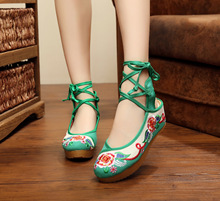 Chinese Fashion Women Shoes Old Peking 5cm Increased Internal Soft Sole Embroidery Pumps Size 34-40 Red Green Blue Cloth Shoes