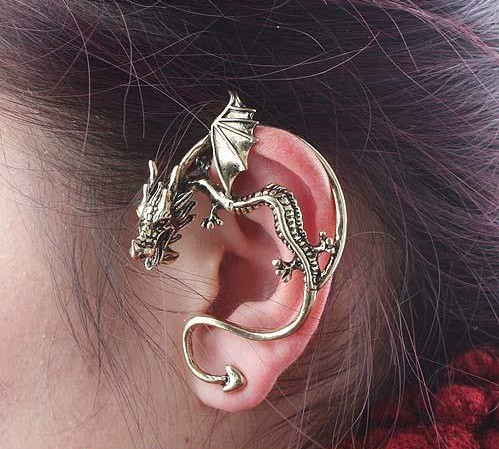 Bronze and Silver Plated Dragon Shape Earrings