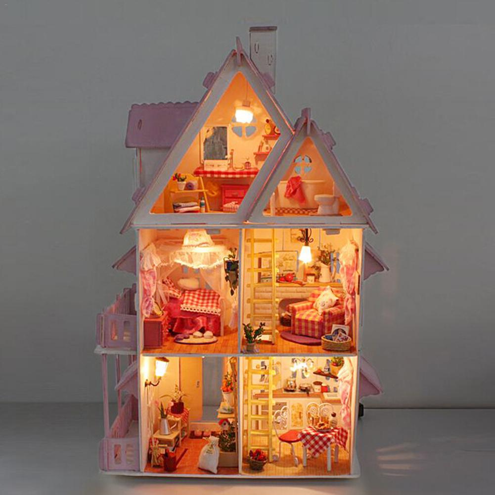 DIY Kit Dollhouse Toy Miniature Scale Model Puzzle Wooden Doll House Unique Big Size House Toy With Furnitures for Birthday Gift diy miniature wooden dollhouse caribbean sea cute room with music big doll house toy for girl birthday gift christmas present
