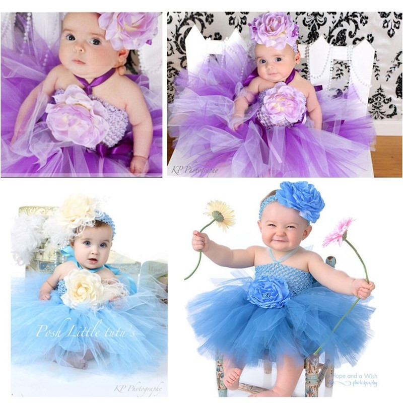Newborn Baby Girl 1 Year Birthday Dress Tulle Toddler Flower Party Wedding Tutu Dress Infant Baby Girl Christening Gowns 0-24M