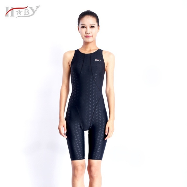 Hxby Sharkskin Knee Length Swimsuits Competition Swimsuits Girls
