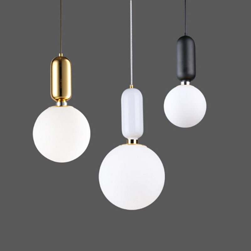 Modern Milk Globe Glass Pendant Lights For Dining Room Bar Restaurant Deco Kitchen Room Hanging Pendant Lamp Fixtures