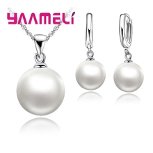 Smooth Women Wedding Jewelry Sets 925 Sterling Silver Pearl Necklace Hoop Earrings Fashion