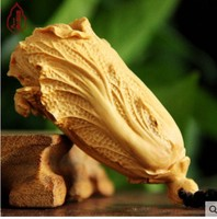 boxwood Carving Real wood Chinese cabbage leaflet yellow poplar wood carving hand small ornament hanging to play carv statue