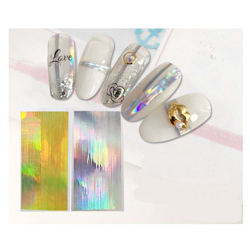 Gold Striping Tape Nail Art: 3 Sheet Nail Art Stickers Laser Silver Gold Stripe Line