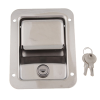 1 Pcs 304 Stainless Steel Paddle Entry Door Lock Latch For RV Camper Motorhome Etc Built in Spring 5.51″x4.25″ Panel Door Lock