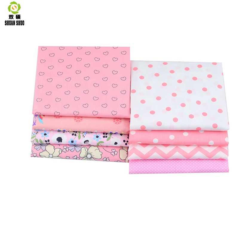 Shuanshuo Rosa Cor Tecido Pano De DIY Artesanal De Costura Quilting Patchwork Tecido Baby & Crianças Folhas Vestido 40*50cm 8 pçs/lote