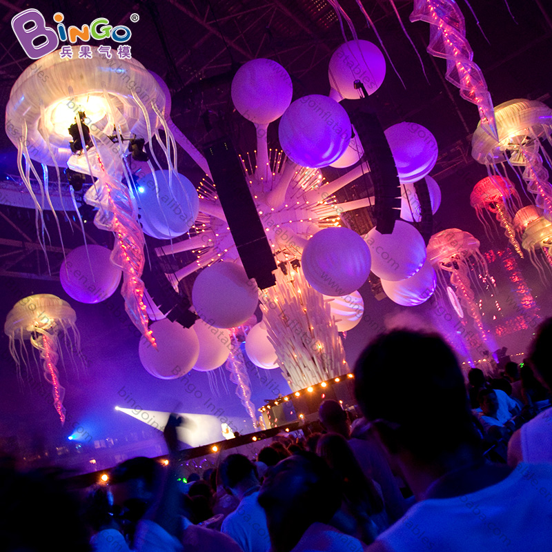 Color Inflatable Jellyfish Light For Night Cube Bar Stage Hanging Decoration 2 Meters High