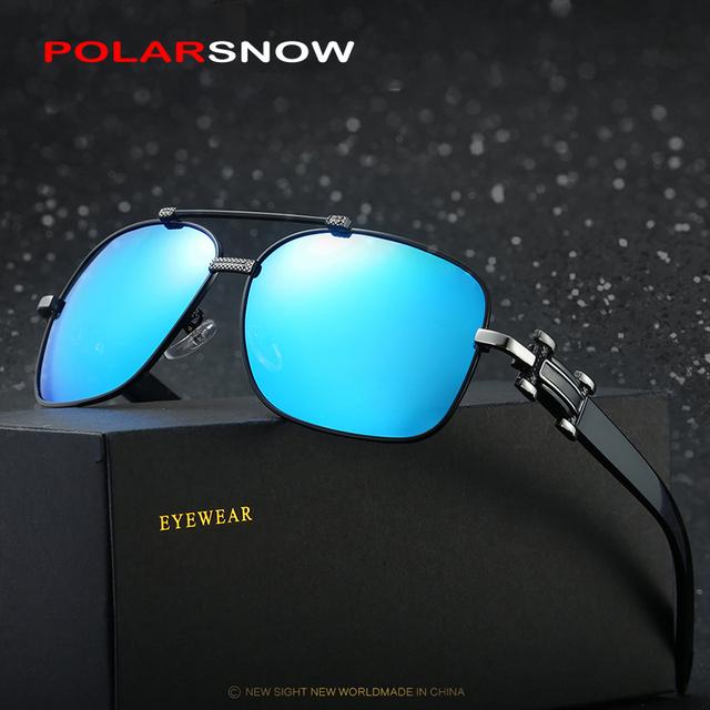 POLARSNOW Espelhos Quadrados Mens Condução Lentes Polarizadas Óculos de Sol Óculos de 2017 de Alta Qualidade Óculos De Sol Para Homens Óculos de Esportes Ao Ar Livre