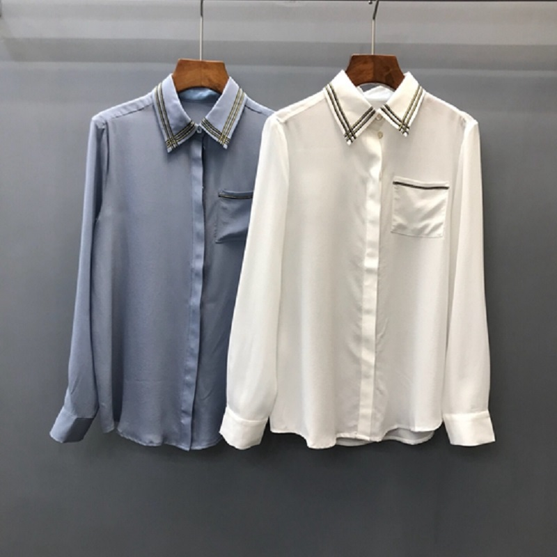 Verano white Las Blusa Manga Ol Oro Larga Camisa Azul De Cadena Blue 2019 Blanco Seda Patchwork Tops Primavera Moda Mujeres Fx0BqqwH