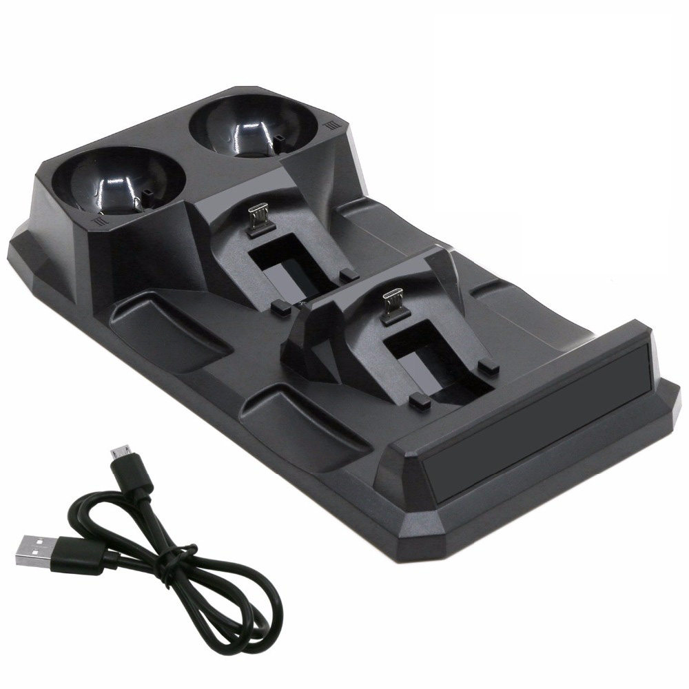 Купить с кэшбэком For Playstation 4 PS4 Slim Pro PS VR PS Move Motion Controllers 4 in 1 Charger USB Charging Dock Station Storage Stand Charge
