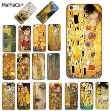 Maiyaca o beijo gustav klimt pintura preta caso de telefone capa para iphone 8 12pro 6s plus x xs max xr 5S 11pro max caso escudo