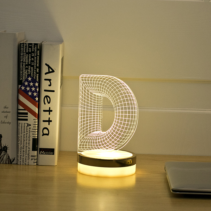 Acrylic Letter D 3D LED Lamp Baby Night Light Sleeping Lighting 5V USB Small led table Lamp Big white Creative Small Desk Lamp