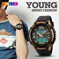 SKMEI Marca de Lujo de Los Hombres Relojes de los Deportes de Doble Pantalla LED Analógico Digital Reloj de Cuarzo Estudiante de Moda Natación Diver Reloj Militar