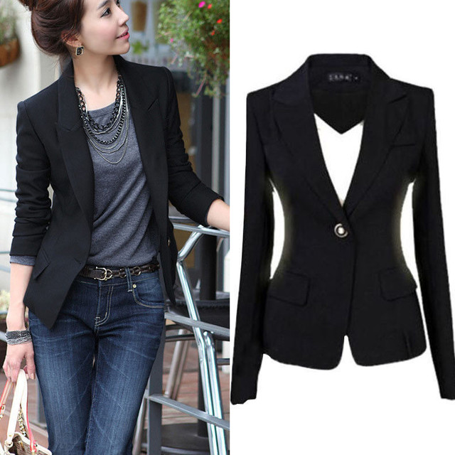 2017 Spring Autumn Women Slim Black Office Suit Jacket Ladies One