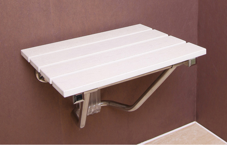 wall chair wall seat solid wood folding shower seat spacing saving wall white color mounted morden