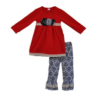 2017 spring fashion cotton children clothing sets boutique toddler girls outfits red tunic top floral pants baby clothes F068