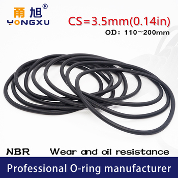Rubber Black NBR Sealing O-Ring CS3.5mm OD110/135/140/145/150/200*3.5mm Seal Rubber NBR Gasket Gaskets Sealing Washer Oil Ring image