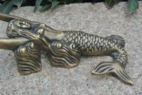 Reprodução do vintage de bronze puro sereia sapato chifre porta parar doorstopper náutico marinho casa decorações metal artesanato antigo