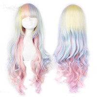 Cos hair Sunflower Gradient Rainbow Ice Cream Long Curly Hair Lolita Halloween Christmas Party Costumes Headwear Accessories