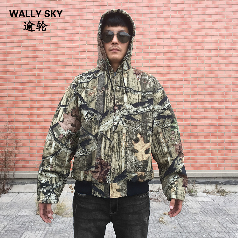 Men's Insulated Camo Jacket Winter Hunting Coat Fishing Hooded Jacket Thermal Bomber Coat Plus Size Ourdoor Forest Hunting Hoody striped trim fluffy panel bomber jacket