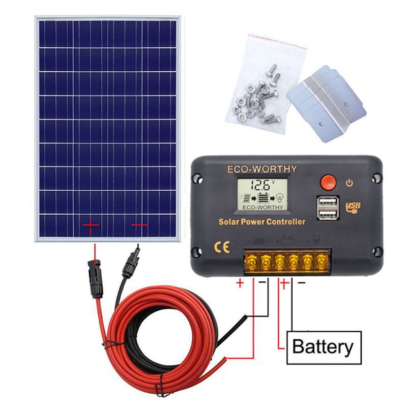 120W 18V Solar power Panel System: 120W poly panel with 20A Controller with 5m black and red MC4 wires for 12V battery charger120W 18V Solar power Panel System: 120W poly panel with 20A Controller with 5m black and red MC4 wires for 12V battery charger