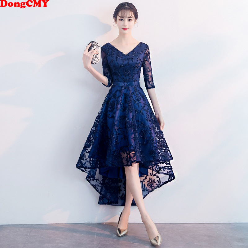 DongCMY New 2021 Blue Color Formal Bridesmaid Dresses Half Sleeves Women Elegant Bride Gown