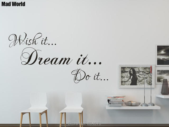 Wish It Dream It Do It Motivational Quote Wall Art Stickers Wall Decals Home  DIY Decoration