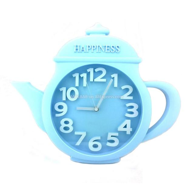 Large Blue Teapot Wall Clock Gl Cover Numerical Watch Dial Modern Style Quiet Quartz Timepiece Abs