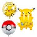 3 unids pokeballFoil Pikachu juguetes Globos de Helio Globos Inflables Niños juguetes clásicos globos feliz Cumpleaños Fuentes Del Partido