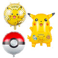 3pcs Pikachu pokeballFoil Balloons Inflatable toys Helium Balloons Children classic toys  happy Birthday balloons Party Supplies